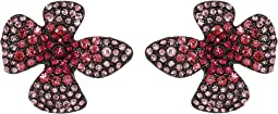 Pink Pave Flower Stud Earrings