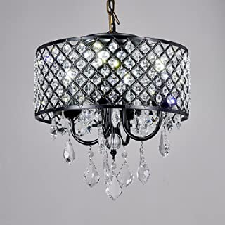 Broadway Black Classic Crystal Chandeliers Modern Lamps Pendant Light Ceiling Flush Mount Fixture for Kitchen BL-AJA/BK4 W14 X H14 Inch