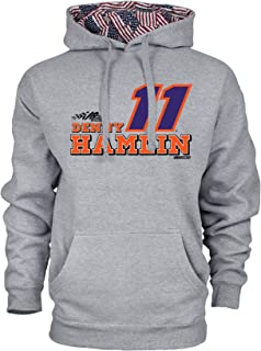 NASCAR Joe Gibbs Racing Denny Hamlin Mens Benchmark Colorblock Pullover HoodBenchmark Colorblock Pullover Hood, Premium Heather/Flag, Large