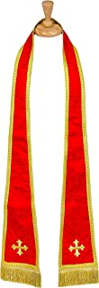 REVERSIBLE LONG CLERGY STOLE WITH EMBROIDERY(RED/WHITE/GOLD) STYLE SMQ2019