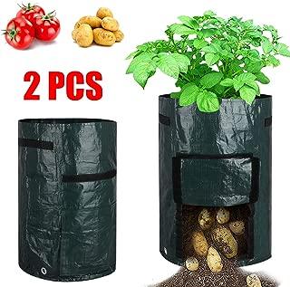 EEEKit 2 Packs 10 Gallon Potato Grow Bags with Flap and Handles Potato Planter Bags Garden Tub for Vegetable Growing