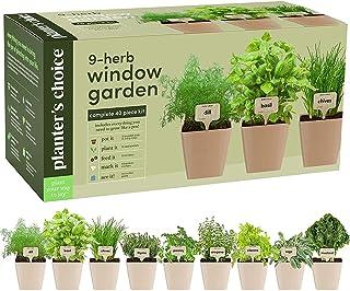 9 Herb Window Garden - کیت پرورش گیاهان ارگانیک داخل سالن - کیت Windowsill Starter - آشپزخانه - به راحتی 9 گیاه گیاه از دانه ها را با راهنمای جامع پرورش دهید - هدایای باغبانی منحصر به فرد برای زنان