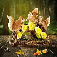 Garden Squirrel Figurines - Outdoor Sculpture Decoration,Solar Resin Animal Shape Statue Lights,Garden Gnome Statues Art D...