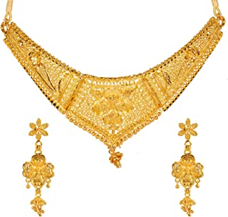 Bodha Traditional Indian One Gram Gold Bridal Dulhan 22K Gold Plated Hi Micron Choker Jewellery Set for Women (SJ_2846)
