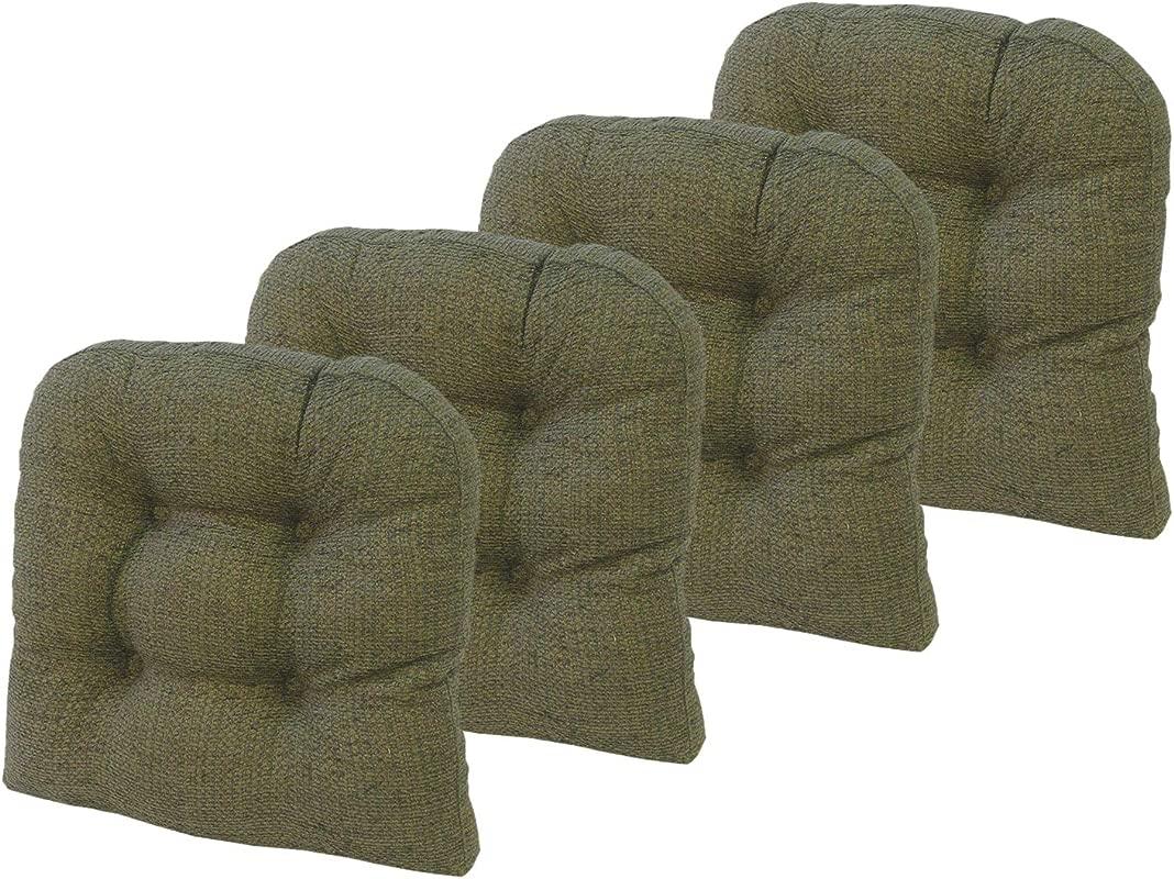 Klear Vu Tyson Gripper Universal Non Slip Overstuffed Dining Chair Cushion 4 Pack Green