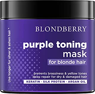 Purple Hair Mask for Silver & Platinum Hues - Advanced Purple Pigment with Keratin & Argan Oil - Made in USA - Removes Yellow & Brassy Blonde Tones - Deeply Repairs Dry & Damaged Blonde Hair - 8 oz