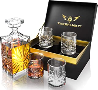Whiskey Glass Set with Decanter -4 Crystal Whiskey Glasses & Ornate Style Decanter for Scotch, Bourbon   Old Fashioned Style Cocktail Glasses in Premium Gift Box are Great Bar Accessories Gift for Men