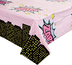 Blue Panda Girl Superhero Comic Book Plastic Table Covers (3 Pack) 54 x 108 Inches