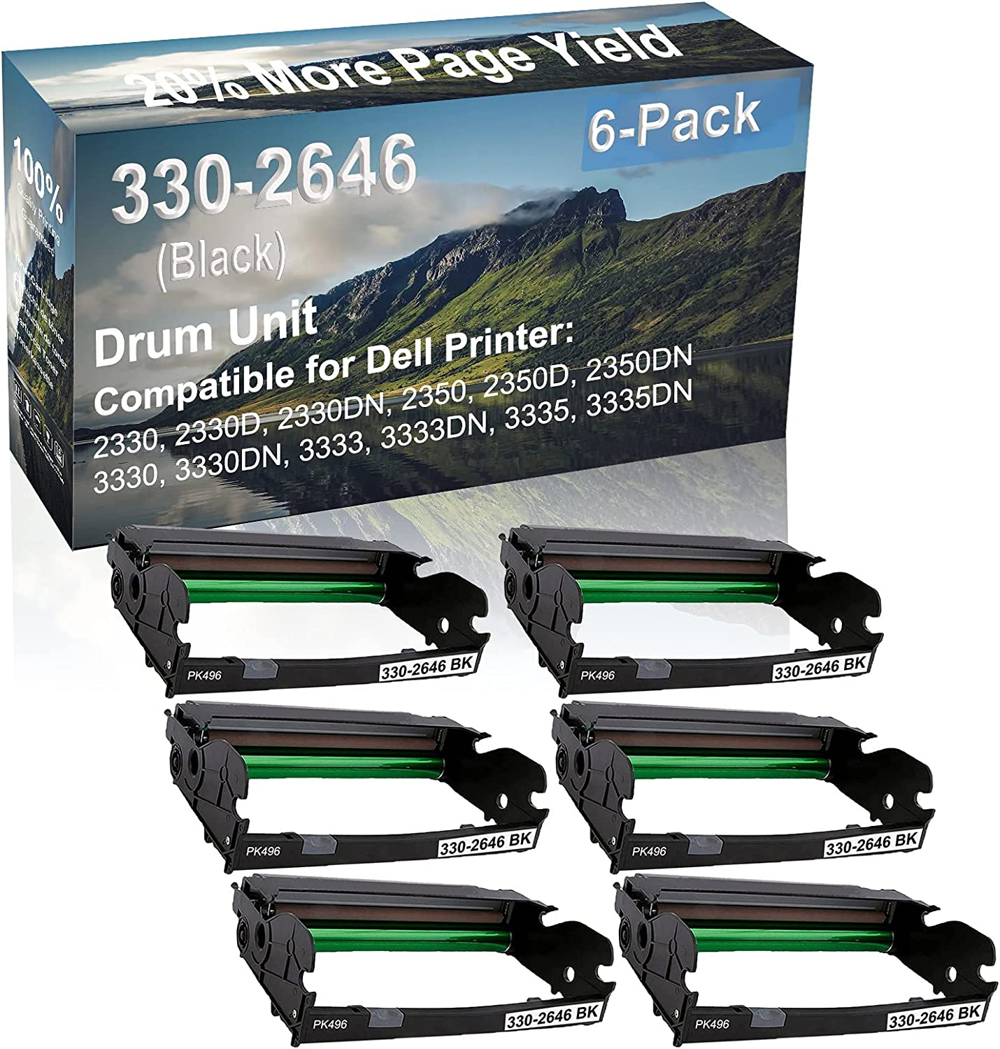 6-Pack Compatible 330-2646 Drum Kit use for Dell 2330, 2330D, 2330DN, 2350 Printer (Black)