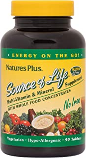 NaturesPlus Source of Life No Iron Tablets - 90 Vegetarian Tablets - Whole Food Multivitamin & Mineral Supplement, Energy ...