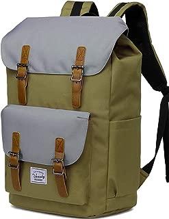 Backpack for Men,Vaschy Vintage School Bag Casual Lightweight Camping Rucksack Bookbag with15.6in Laptop Sleeve Khaki Gray