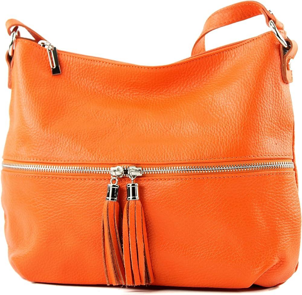 Modamoda de, borsa da donna a tracolla, in vera pelle T159OG