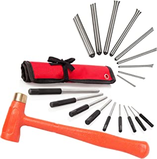 TuffMan Tools Pin Punch Set & 1.5 lb Dead Blow Hammer, Great for Gunsmiths, Gun Building, Handymen & Watchmakers, Use to Remove Pins on Cars & Boats