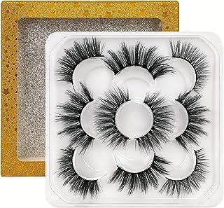FANXITON False Eyelashes 5 Styles Mixed Fake Lashes Pack 3D Fluffy Volume Faux Mink Lashes 5 Pairs with Glitter Eyelash Box