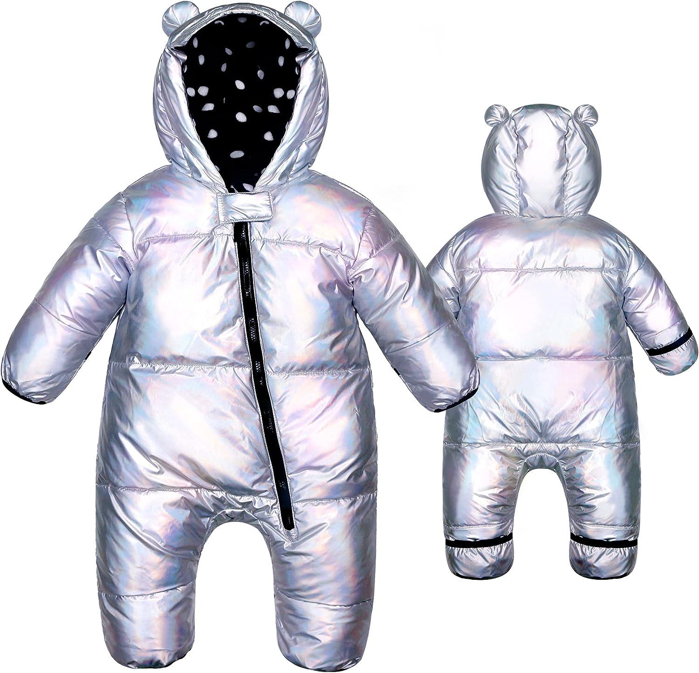 ABONG Infant Baby Bear Puffer Jumpsuit Bodysuit Winter Suit Coat Hoodie Fleece Bunting Snowsuit Snow Wear Romper Girl Boy
