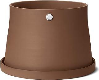 Georg Jensen Designer Terracotta Garden Pot and Saucer, Indoor and Outdoor Gardening, Herb, Size Large