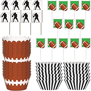 Unique Football Cupcake Bundle | Party Picks, Cupcake Kits & Wrapper | Great for Sports-Themed Party, Kids Birthday, Classroom Activity, Sports Celebration