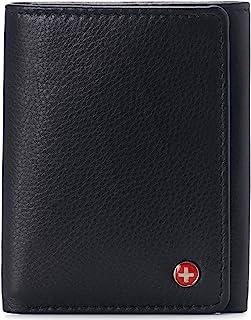Alpine Swiss Men's Leon Trifold Wallet RFID Safe York Collection One Size Soft Nappa Black
