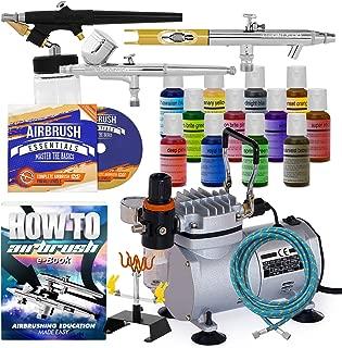 PointZero Cake Airbrush Decorating Kit - 3 Airbrushes, Compressor, and 12 Chefmaster Colors