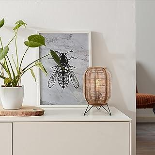 Lightbox Lampadaire décoratif au design naturel, compatible avec ampoules LED et filaments, 1 ampoule E27 max. 42 W, méta...