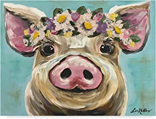 Trademark Fine Art Pig Rosie Flower Crown 3 by Hippie Hound Studios, 14x19
