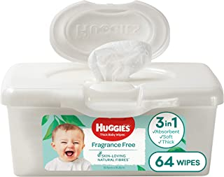 HUGGIES Baby Wipes Fragrance Free Baby Wipes Pop-Up Tubs, 64 Wipes