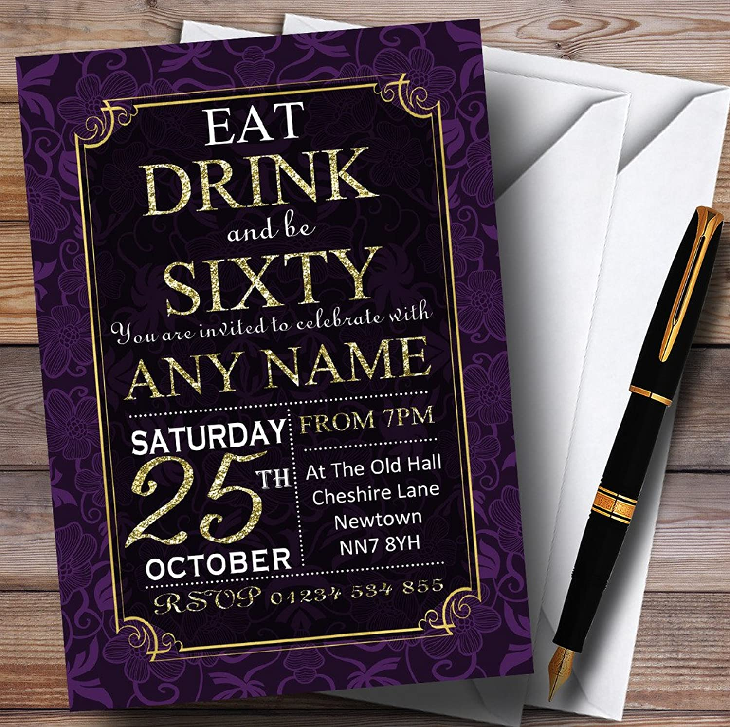 Purple & gold Flowers 60th Personalised Birthday Party Invitations