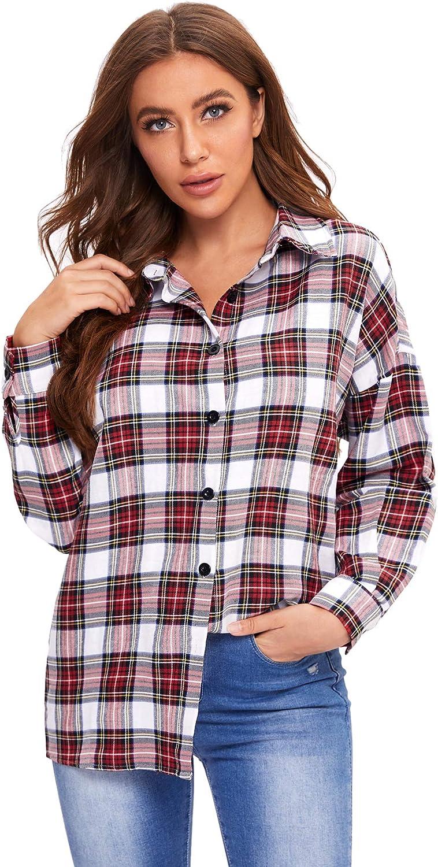 Milumia Women Casual Plaid Shirt Drop Shoulder Long Sleeve Collar Button Tartan Blouse Tops