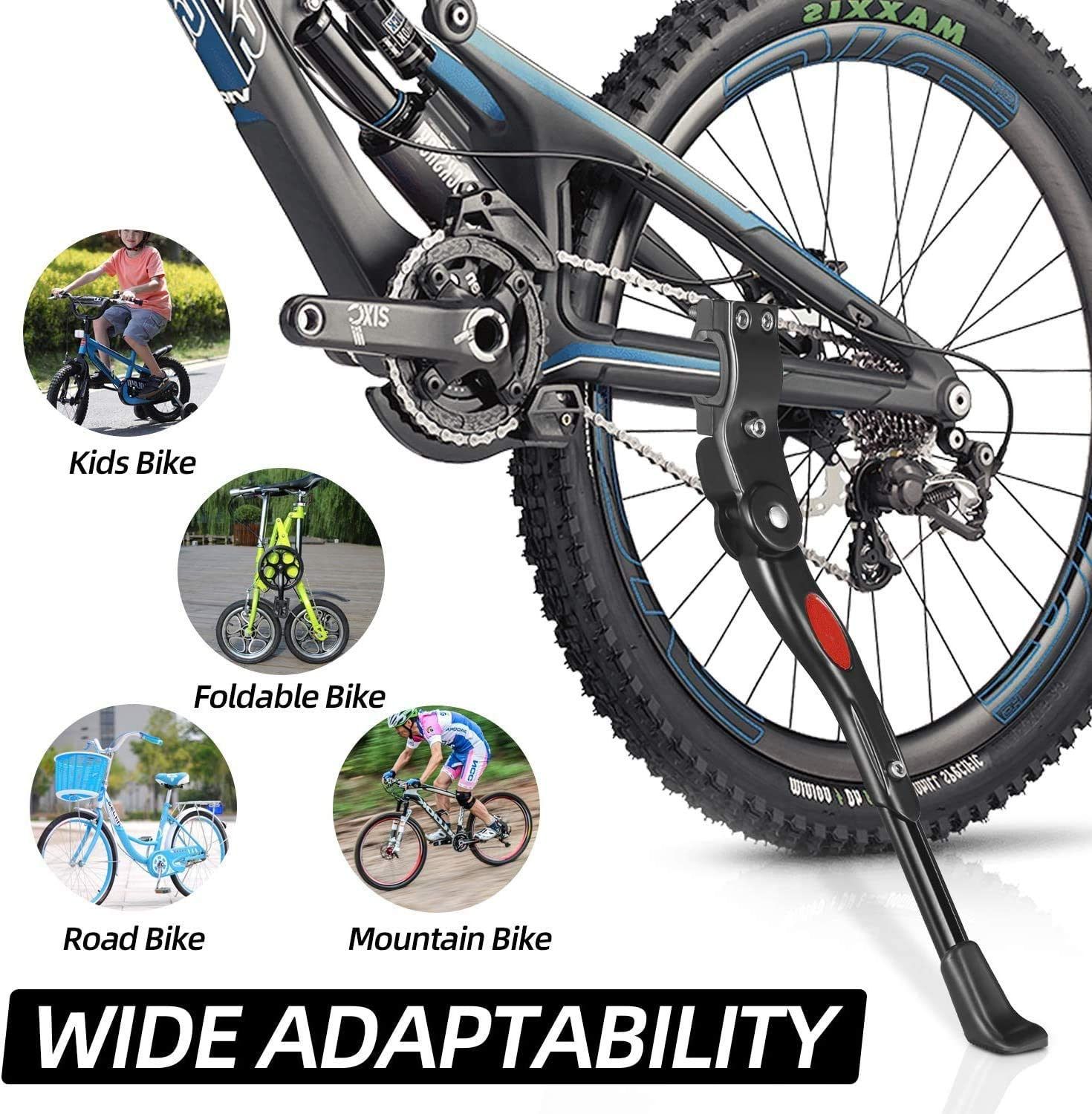 Aluminum Alloy Side Bike Kickstand Non-Slip rubber stand Suitable for Wheel 24-29 Inches Mountain Bike Foldable Bike Aprllolg Bicycle Kickstand Adjustable Bike Stand Road Bike