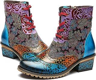 f45c51d3b653 Camfosy Bottines Cuir Femme Plates, Chaussures Ville Hiver à Talons Plats  Boots Bottes à Lacets