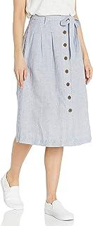 Amazon Brand - Goodthreads Women's Washed Linen Blend Midi Skirt