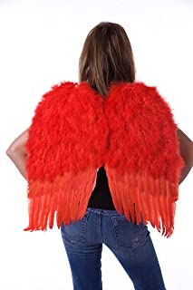 Medium Red Angel Costume Wings - Halloween Cosplay Feather Wings for Adults-Kids