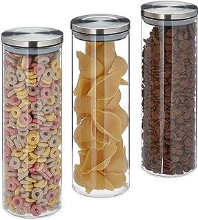 Relaxdays Förvaringsglas uppsättning av 3, lufttätt, rostfritt stållock, för pasta, müsli och ris, 1,8 l köksbehållare, tr...