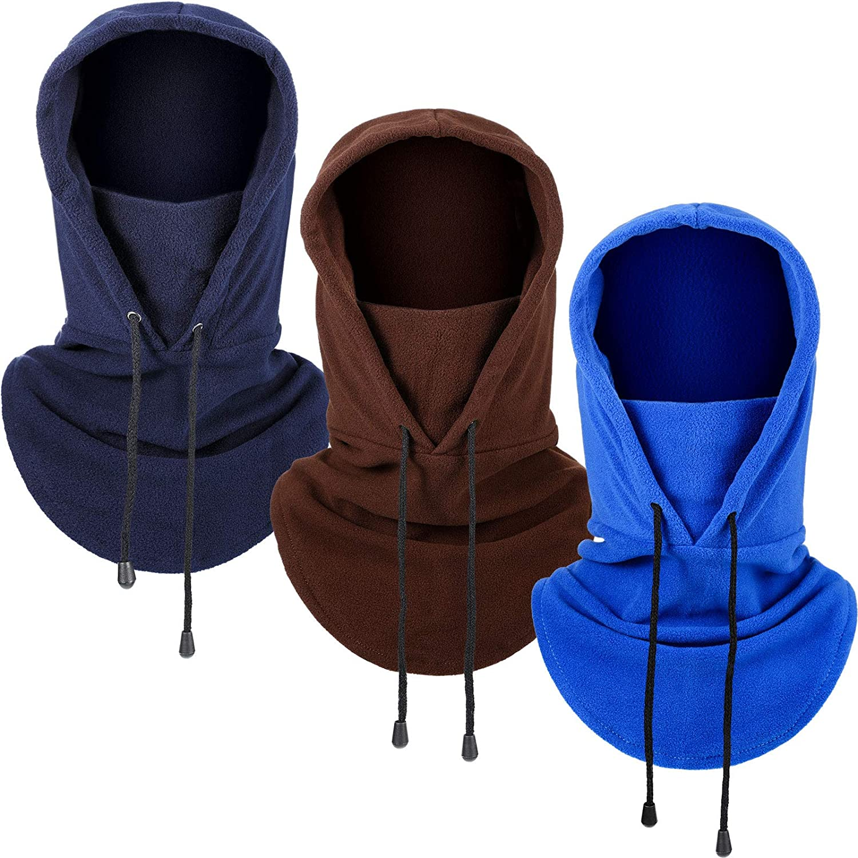 3 Pieces Balaclava Face Scarf Winter Windproof Hat Fleece Ski Face Covering Warm Outdoor Sport Headwear Scarf for Men Women (Blue, Coffee, Navy Blue)