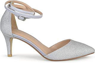 Brinley Co. Womens Glitter D'Orsay Pointed Toe Wrap Strap Pumps