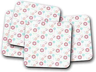 Posavasos blanco con diseño floral, posavasos individuales o juego de 4