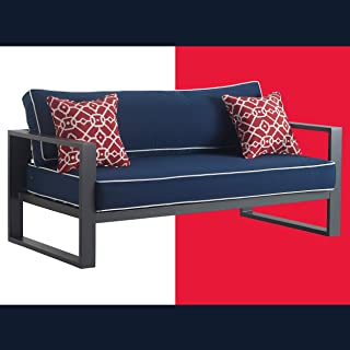 Tommy Hilfiger ODSO10010A Monterey Modern Patio Outdoor Furniture Collection, Weather Resistant, Metal Frame, Sofa, Navy B...