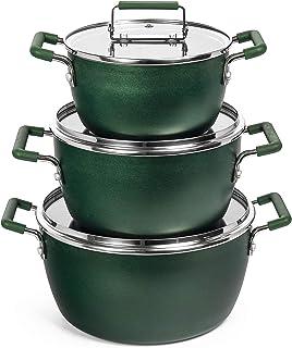 Granitestone Stock 6 Piece Multipurpose Stockpot Set, Ultra Nonstick Coating, 100% PFOA Free, 5qt, 3qt & 1.5qt Pots with T...