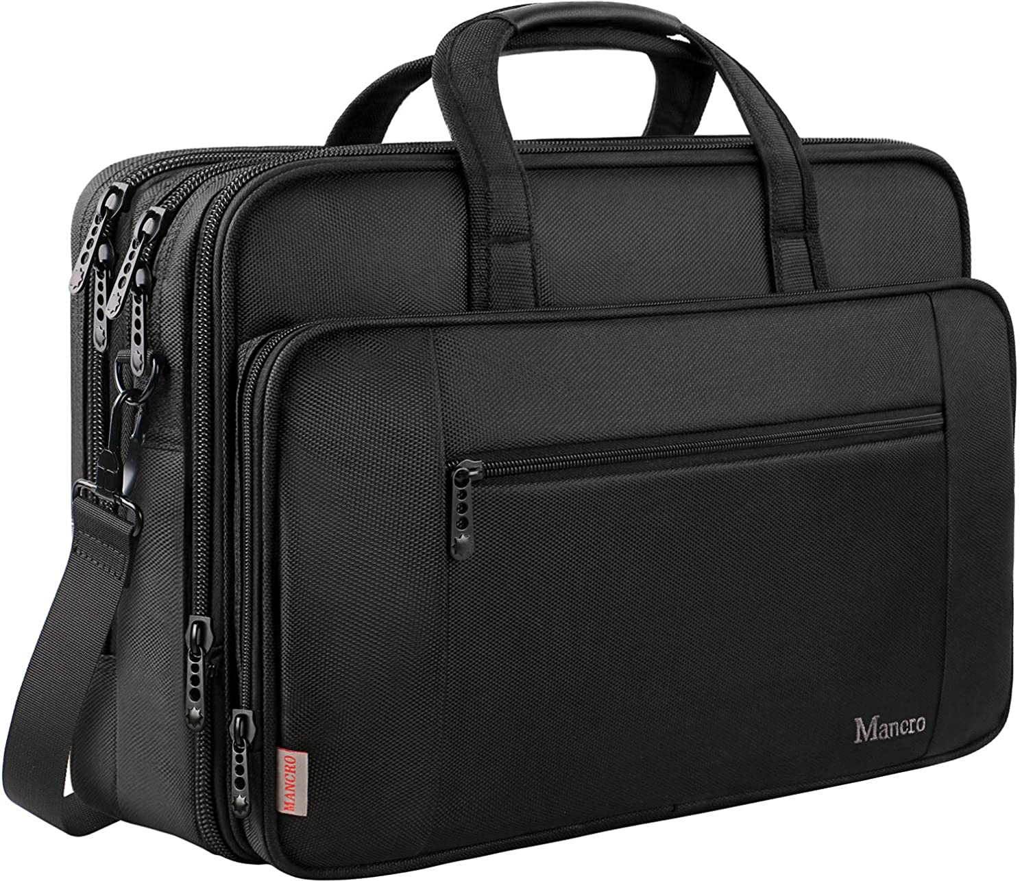 17 inch Laptop Briefcase for Men Women, Soft Business Bag, Big Computer Shoulder Bag, Expandable Carry on Case, Water Resistant, Lightweight Mancro Office Bag Fits 17 15.6 inch Laptop, Tab