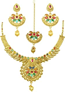 BEAUTY - A stylish fancy party wear Designer Traditional jewellery set for women from the house of Crunchy Fashion is perfect for this wedding and festive season. Creatively embellished with Kundan & AD crystals, this designer set will add a tinge of charm to your attire.