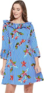 AASK Women Blue and Multicolor Color Floral Printed Knee Length Crepe Dress (US_1367B)