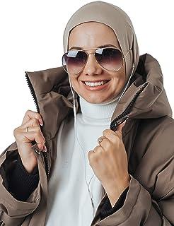 Headphone Gl Hijab, Cotton Under Scarf Tube Cap, Ready to wear Muslim Accessories for Women (Beige)