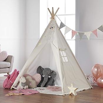 Tipi Kinderzelt Spielzelt Babyzelt weiß Spielhaus Kinder Baumwolle-Segeltuch