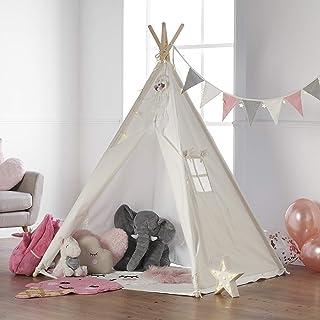 Haus Projekt TeePee för barn med ljusslingor, flaggväv och vattentät bas 160 cm Tipi tält (rosa)