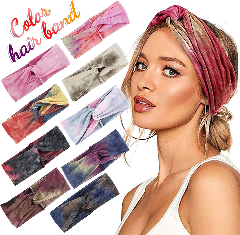 Winnerlink 9Pcs Workout Headband for Women - Wide Knotted Headband Fashion Sport Hairband Non Slip Sweatband Stretchy Soft Elastic Head Band Cross-Printing Hairband for Girls