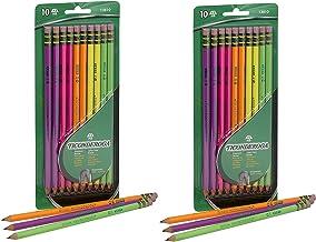 Dixon Ticonderoga No.2 Pencils, Assorted Neon, 10-Pack (2-Pack)