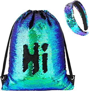 Phogary Sequin Drawstring Backpack with Headband, Reversible Mermaid Bag for Sport Outdoor Travel Beach Hiking
