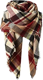 Women's Fall Winter Scarf Classic Tassel Plaid Scarf Warm...