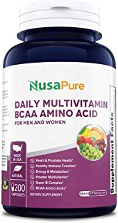 Daily Multivitamin BCAA Amino Acid 200 caps (Non-GMO & Gluten Free) for Men & Women Won't Upset Your Stomach - Natural Energy - Anti Aging Immune System Support