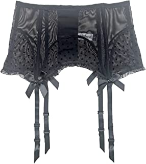 TVRtyle Black Women's Fishbones Metal Clips Sexy Garter Belts for Stockings S514B